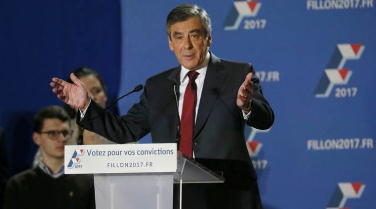 Francois Fillon, former French prime minister and member of Les Republicains political party, attends a rally as he campaigns in the second round for the French center-right presidential primary election in Lyon