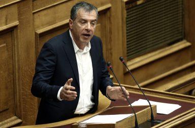 Ο επικεφαλής του Ποταμιού Σταύρος Θεοδωράκης μιλάει στην προ ημερησίας διατάξεως συζήτηση για τα θέματα λειτουργίας της Δικαιοσύνης στην Ολομέλεια της Βουλής, Αθήνα, την Τρίτη 29 Μαρτίου 2016.